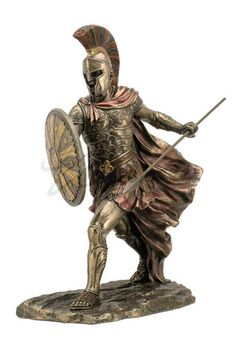 Achilles Statue Sword Spear Gladiator Troy Warrior- Achilles is the ultimate Greek warrior and  hero with his pride and wrath during the Trojan war. This statue of Achilles depicts the warrior with armor and spear. Made of a durable resin and hand painted in this classic coloring.