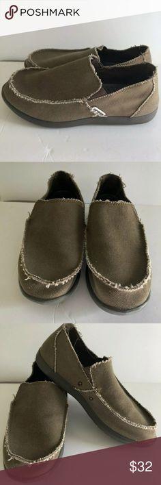 d68fb938849337 CROCS Mens Sz 8 Brown Khaki Canvas Loafers Shoes CROCS Mens Sz 8 Brown  Khaki Canvas
