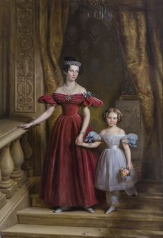 1836 Jean-Baptiste Van der Hulst - Princess Louise of Prussia with her daughter Louise of the Netherlands, future Queen of Sweden and Norway