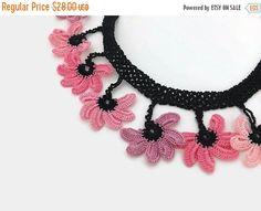 SALE 20% Crochet Necklace Crochet Flower Necklace , Pinkish Colors Oya Lace Necklace Floral Jewelry, Unique crochet Choker , Boho Fabric Nec