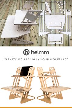 £235 with free Prime next day delivery - the Helmm S-Desk '22 - standing desk converter. Precision cut from sustainable birch plywood. Elevate your workplace wellbeing with this fully adjustable, ergonomic stand up desk suitable for laptop or large display use. Designed and manufactured by Helmm in the UK.