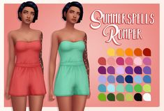 "Summer Spells Romper Recoloured.35 recolours of @cupidjuice's Summer spells romper. ""- stand alone - female, teen to elder - require the original mesh! - feel free to send in suggestions for recolours "" TOU Download: SimFileShare/MediaFire"