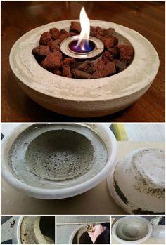 DIY fácil hormigón mesa Fuego Tazón