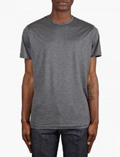 Sunspel Grey Short Sleeve Crew Neck T-Shirt The Sunspel Mens Short Sleeve Crew Neck T-Shirt