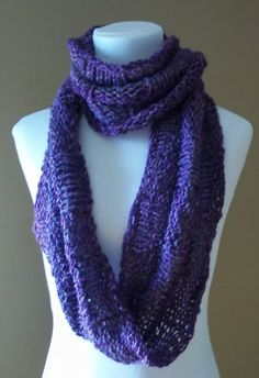 Deep Purple and Violet Shimmer Hand Knit Infinity Scarf Cowl on Etsy, $45.00