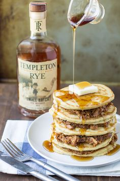 Holy brunch, Batman! Pulled pork pancakes with whiskey maple syrup