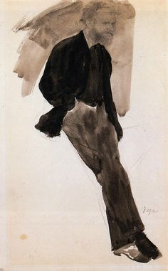 Edouard Manet standing • Edgar Degas {watercolor}