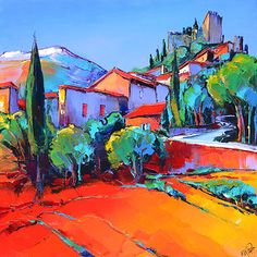 French Art Network | Lepape, Eric - RUE DU CHATEAU CASTELNOU - (80x80cm) - oil on linen painting.