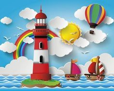 Rainbow Lighthouse 2.4m L x 300cm W Wall Mural ohpopsi