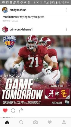 Game Day tomorrow - Alabama vs USC in Arlington, TX #Alabama #RollTide #Bama…