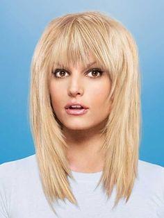 Medium layered haircuts with bangs 2017 Medium Length Hair Cuts With Layers, Bangs With Medium Hair, Medium Hair Cuts, Long Hair Cuts, Medium Hair Styles, Long Hair Styles, Haircut Medium, Long Bangs, Wispy Bangs