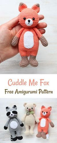Cute Crochet Patterns Free crochet pattern fox and link for bear and raccoon - This Cuddle Me Fox amigurumi is the right playmate for your wild little foxes at home. Its soft white belly ma Crochet Amigurumi Free Patterns, Crochet Motifs, Crochet Dolls, Crochet Fox Pattern Free, Fox Amigurumi Pattern, Crochet Baby Toys, Crochet Gifts, Cute Crochet, Crochet For Kids