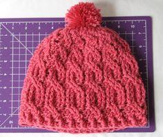 crochet pattern - cable knit beanie with pom pom