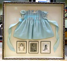 INSPIRATION: A precious baby dress worn by each daughter worn for their 9 month portrait.