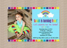 Over the Rainbow Birthday Party Invitations by Honeyprint on Etsy, $15.00