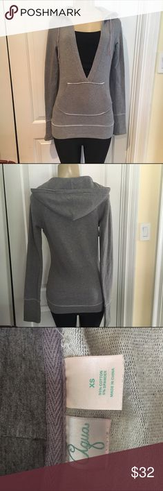 Aqua gray hooded sweatshirt Gray sweatshirt hooded low v neck perfect condition size xs Aqua Tops Sweatshirts & Hoodies