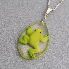 Little frog necklace clear resin pendant drop on long by PikLus, $12.00