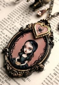 sweet kawaii japan goth fashion jewellery for wednesday addams mad graves cameo necklace