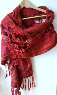 Sorcha - Handwoven shawl scarf - russet red, rich purple and shades of autumn brown handspun, hand dyed FREE shipping
