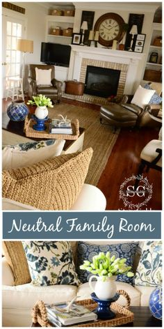 Neutral family room with pops of indigo