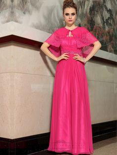 Fuchsia Chiffon A-line Floor Length Formal Dresses with Shawl