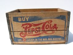 Pepsi Cola, old Vintage Antique Double Dash Wooden Crate Box Sign Vintage Crates, Old Crates, Coca Cola, Mountain Dew, Ginger Ale, Vintage Advertisements, Vintage Ads, Vintage Signs, Wooden Crate Boxes