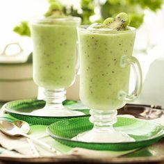 Shamrock Smoothies - made with kiwi, green grapes, banana, key lime yogurt, orange juice or white grape juice, honey and rum.