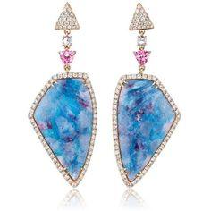 18kt Rose Gold Samira Paraiba Tourmaline & Diamond Drop Earrings (612 535 UAH) ❤ liked on Polyvore featuring jewelry, earrings, tourmaline jewelry, drop earrings, red gold jewelry, rose gold jewelry and pink gold earrings