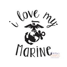 I Love My Marine Love Decal. USMC Hero by StarsStripesDesigns