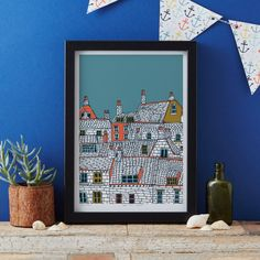 Rooftops art print designed by Jessica Hogarth - art print - ready to frame - colourful digital print on matte card.