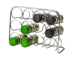 02f4bc90627 Pisa® Spice Rack - Holds 12 Jars - Chrome Storage Stand Kitchen Cooking  Organiser - Metal Free Standing