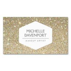 ELEGANT WHITE EMBLEM ON GOLD GLITTER BACKGROUND STANDARD BUSINESS CARD