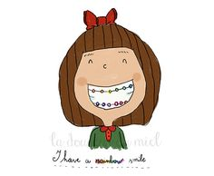 Girl with rainbow retainer room decor children by LaDouceurDuMiel, €10.00