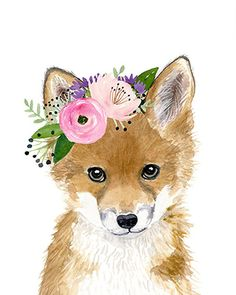 Floral baby fox Watercolor fox Woodland Nursery Art Animal