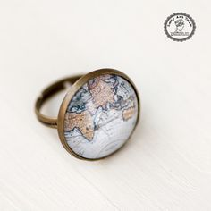 Atlas Ring, Bronze Antique Adjustable Ring, Photo Glass Ring, Picture Ring, Art Jewellery, Map Jewelry, Globe Jewelry Photo Jewelry Blue Map