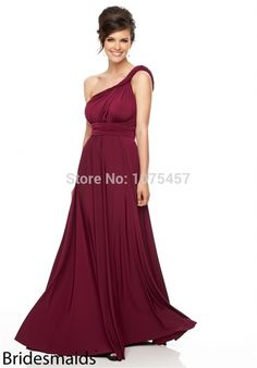 New Arrival One Shoulder Bridesmaid Dress 2015 Sexy Backless Plum Dress For Party Long Chiffon Vestido De Festa Longo MB824