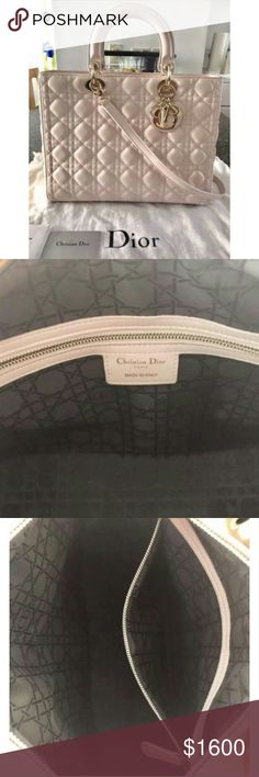 Christian Dior Lady Lambskin Cannage Rose Brand new with tags Comes with authentication card and receipt Quilted leather  Size is large Open to all offers Cell 7.3.4 25 2 65 .77 Christian Dior Bags Shoulder Bags