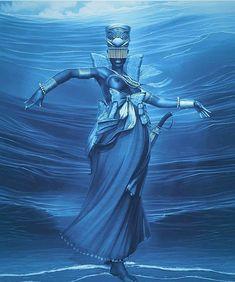 Yemanjá African Mythology, African Goddess, African American Art, African Art, Yemaya Orisha, Orishas Yoruba, Yoruba Religion, Black Art Pictures, Black Love Art