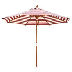 Add coastal-chic style to your patio or deck with this lovely umbrella, showcasing a striped motif and red hue.   Product: Umbre...