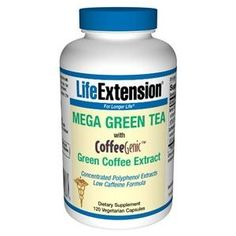 Amazon.com: Life Extension Decaffeinated Mega Green Tea Extract 98% Polyphenolds, Vegetarian Capsules, 100-Count: Health & Personal Care
