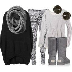 sweater grey uggs earrings leggins scarf grey scarf cute pants ugg Black outfit.