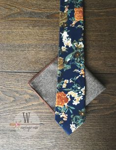 Navy Autumn Tie by W. Vintage Vibe only $17 on Etsy! https://www.etsy.com/listing/487809437/navy-fall-slim-tie