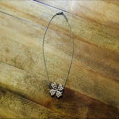 """Rhinestone Shamrock Necklace Super cute necklace! Never worn  17"""" Necklace, lays in the middle of chest Forever 21 Jewelry Necklaces"""