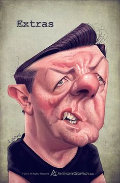 Ricky Gervais caricature by Anthony Geoffroy
