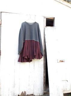 romantic Sweatshirt tunic  / Upcycled clothing / by CreoleSha, $72.00