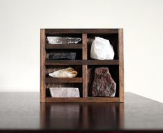 Stone and Crystal Set and Miniature Wood Curio Shelf Instant Collection.