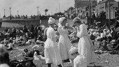 August 1919: Bathing belles on the beach at Southend-on-Sea, Essex. (Topical Press Agency/Getty Images)