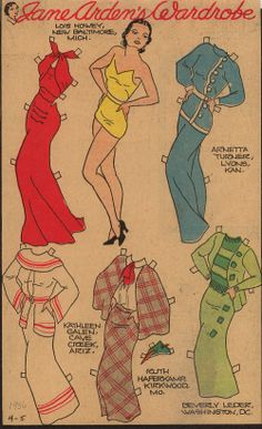 Comic Strip paper dolls - Jane Arden 4-5-1936