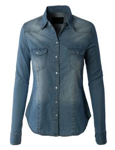 LE3NO Womens Vintage Button Down Denim Shirt with Front Pockets