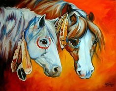 indean Horse  Art | Art: WARRIORS II by Artist Marcia Baldwin